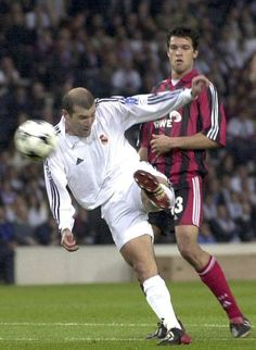 Herr Ballack looks on helplessly as Zidane scores that goal against Leverkusen in the 2002 Champions League final in Glasgow…