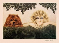 """Fashion Blond Lady with Chow Dog Two Beauties Art by Louis Icart 16"""" X 22"""" Image Size Vintage Poster Reproduction"""