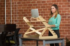 Portable standing desk for your laptop.  Fits 2 Monitors.  Easy assembly.  Adjustable levels. 100% American made.  5 Star Amazon rating!  Fast delivery.