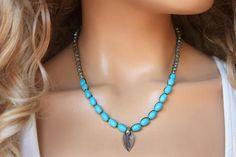 Leaf Crochet Necklace,Semi Precious Stone Tibetian Silver Leaf  boho chic Jewelry