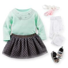 Little Sparkle Star Silvery tutu and matching ballet flats are so fun for the holidays. An embellished bodysuit, ruffled tights and tulle head wrap complete the look.