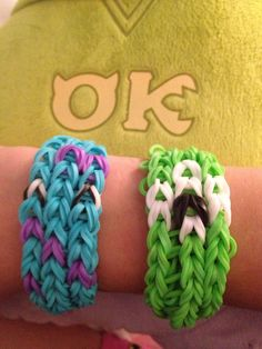 Mike and Sully....rainbow loom bracelets....monsters university, team OK all the way!