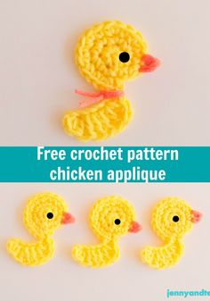 chicken or duck crochet applique free pattern, thanks so xox ☆ ★   https://uk.pinterest.com/peacefuldoves/