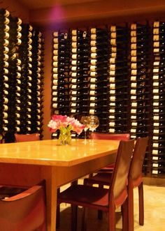 wine cellar with dining table