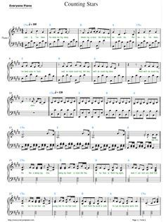 Free Counting Stars-OneRepublic Sheet Music Preview 1 .