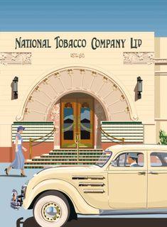 Print of National Tobacco Company Building Napier - National Tobacco Company Napier by Retro Posters for Sale – New Zealand Art Prints - Art Deco Bar, Art Deco Design, Retro Design, Taiwan, Art Deco Posters, Retro Posters, Chrysler Airflow, New Zealand Art, Nz Art