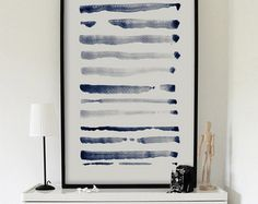Minimalist Print, Large Abstract Print, Large Abstract Art, Blue Grey, Line Art, Abstract Watercolor, Abstract Painting, Watercolor Print