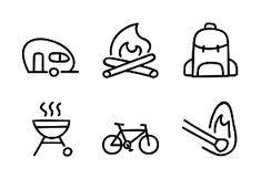 'Camping' by Chulvi Camping Icons, Doodle Icon, Outdoor Camping, Icon Set, How To Draw Hands, Outdoors, Nature, Naturaleza, Hand Reference