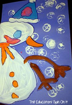 Snowman Painting activity for kids. A fun Winter Art Project .