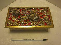Vintage Gold Tone Filigree Ormolu Casket Jewelry Box