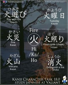 Educational infographic : Words with the character for fire. Language Study, Language Lessons, Learn A New Language, Grammar Lessons, Writing Lessons, German Language, Spanish Language, Sign Language, French Language