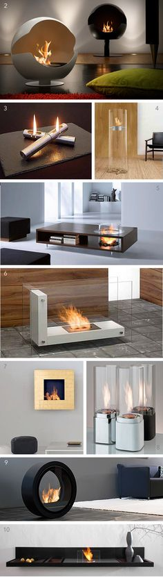 ( 1 ) Tulip fireplace by Biofireplace,  ( 2 ) Cupola by Vauni  ( 3 ) Tabletop fireplace by Carl Mertens  ( 4 ) Ponton fireplace by Wolf Udo Wagner  ( 5 ) Coffee Fire table by Planika  ( 6 ) L Shape fireplace by Planika  ( 7 ) Quadro Gold by Planika  ( 8 ) Tabletop firelamps by Brasafire's  ( 9 ) Roll Fire by Conmoto  ( 10 ) Loungefire by Conmoto