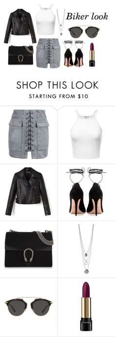 """""""Biker Look"""" by sarra-rafa on Polyvore featuring mode, WithChic, Valentino, Gucci, Christian Dior et Lancôme"""