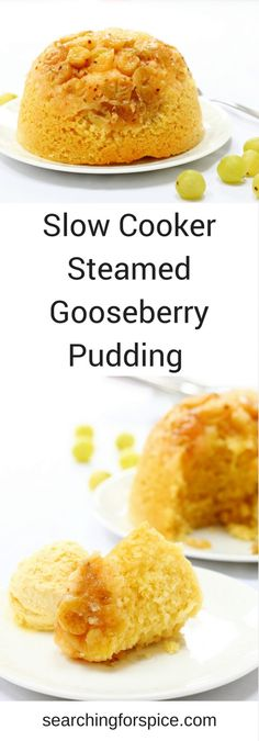 Comforting recipe for a slow cooker steamed gooseberry pudding. Perfect to make in summer with seasonal fruit as the slow cooker wont heat up your kitchen. If you cant find gooseberries just replace with other seasonal fruit such as apples plums or ch Hot Desserts, Delicious Desserts, Yummy Food, Fun Food, Healthy Food, Pudding Recipes, Fruit Recipes, Dessert Recipes, Uk Recipes