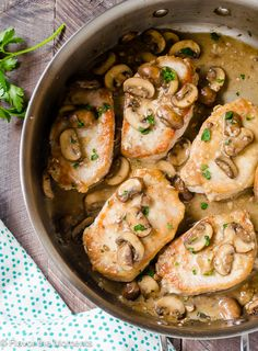 30 Minute Pork Chops with Creamy Bourbon Mushroom Sauce | flavorthemoments.com