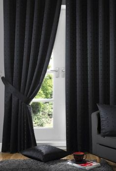Boston Black Lined Curtains