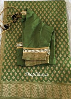 Items similar to Indian/Pakistani Ethnic Ready To Wear Benares Saree with Designer work blouse on Etsy Saree Blouse Neck Designs, Bridal Blouse Designs, Blouse Patterns, Hand Work Blouse Design, Simple Blouse Designs, Women's Fashion, Indian Fashion, Fancy Sarees, Woman Clothing