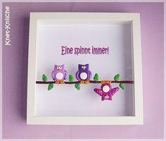 Wanddeko - Lila Eulen im Bilderrahmen - ein Designerstück von Knet-Knilche bei DaWanda