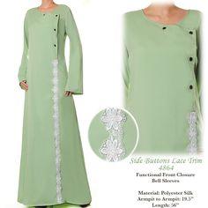 4864 Lace Trim Abaya Dress - Standard Size S/M US$26 FREE SHIPPING WORLDWIDE  Buy It Here --> http://shop.pe/3fSjD