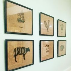 Unique one of a kind farmhouse burlap prints. Dining room decor burlap farm animals & herbs  Rosemary, thyme & basil  Cow, rooster & pig https://www.facebook.com/KaylasCustomGoodies/