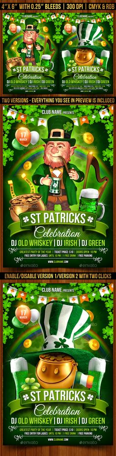 St. Patrick's Day Celebration Flyer Template — Photoshop PSD #irish #pot of gold • Available here → https://graphicriver.net/item/st-patricks-day-celebration-flyer-template/19479012?ref=pxcr