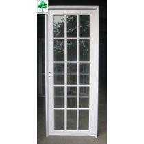 Puerta de seguridad para exterior en aluminio nogal - Precios puertas exterior ...