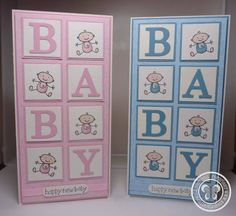pair of handmade baby cards from Stampin with Paula Sievers from Australia . inchies in grid spell out BABY with die cut letters . Tarjetas Stampin Up, Stampin Up Cards, Baby Girl Cards, New Baby Cards, Greeting Cards Handmade, Baby Boy Cards Handmade, Kids Cards, Cute Cards, Creative Cards