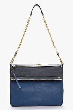 CHLOE Navy blue medium Vanessa bag love this unusual combo