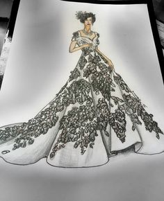 Wedding gown.floral fabric manipulation art work. Lustre of looking good .designer sketch.shweta kaushick