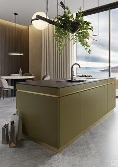 Smart Kitchen, Hidden Kitchen, Minimal Kitchen, Kitchen Units, Kitchen Dining, Grey Kitchen Island, Kitchen Island With Seating, Green Kitchen, Kitchen Interior