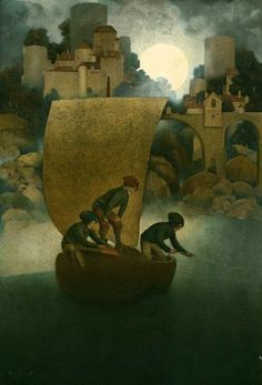 "Maxfield Parrish-- ""Wynken, Blynken & Nod"""