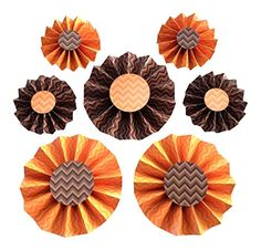 Hanging Party Decorations - Orange and Brown - 7 Rosettes Orange Party, Rosettes, Party Supplies, Decorations, Amazon, Halloween, Games, Toys, Brown