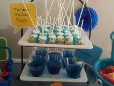 Nemo Party...could decorate cupcakes like those marshmallows