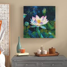 World Menagerie Lotus Blossom Painting Print on Wrapped Canvas Size: H x W x D Lotus Painting, Flower Painting Canvas, Oil Painting Flowers, Painting Prints, Canvas Art, Paintings, Canvas Size, Floral Wall Art, Arte Floral
