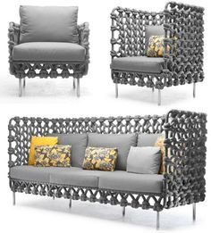 Having previously posted on the possible revival of macrame, I have since come across some wonderfully modern ideas using basic macrame techniques. When you think that all you need is a couple of balls of string or twine to make these designs, macrame is a very affordable way to add unique decor items to a home. http://www.home-dzine.co.za/decor/decor-modmac.htm#