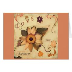 Love is the Answer Floral Art Quote Pink Card - floral style flower flowers stylish diy personalize