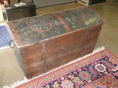 106: Paint Decorated Norwegian Hope Chest, Dated 1833, Similar to mine