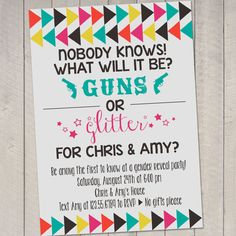 Guns and Glitter Gender Reveal Party Invitation by erindezago, $12.00