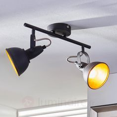 Plafonnier à deux lampes Julin, noir doré, référence 9620728 - Lampes et luminaires dorés pour faire briller votre décoration intérieure chez Luminaire.fr !