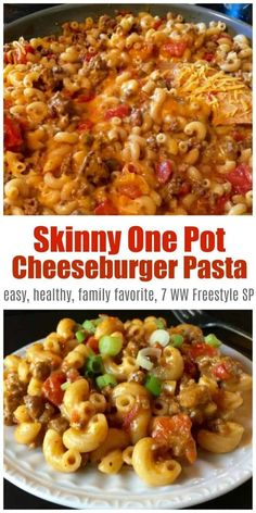 Skinny One-Pot Cheeseburger Pasta Skillet is a comfort food favorite made with lean ground beef, chicken broth, tomatoes, and macaroni & cheese – only 340 calories, 7 Weight Watchers Freestyle SmartPoints! Source by marthamckinnon Weight Watcher Dinners, Weight Watchers Diet, Weight Watchers Chicken, Weight Watchers Hamburger Recipe, Hamburger Skillet Recipe, Weight Watcher Crockpot Recipes, Weight Watchers Enchiladas, Weight Watchers Success, Weight Watchers Freezer Meals