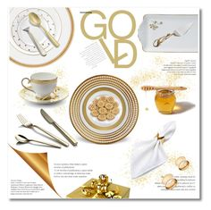 """""""gold dining"""" by limass ❤ liked on Polyvore featuring interior, interiors, interior design, home, home decor, interior decorating, Kate Spade, Wedgwood, L'Objet and Fortessa"""
