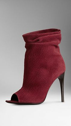 Nubuck Peep-Toe Ankle Boots | Burberry- wonderful colour esp with grey's and camel/tan clothing.