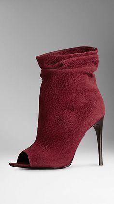 Nubuck Peep-Toe Ankle Boots | Burberry