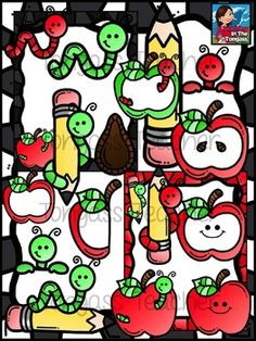 FREE Apples and Worms clipart