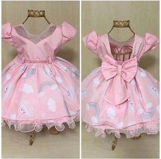 Vestido Chuva de Amor / Benção Princess Flower Girl Dresses, Little Girl Dresses, Fashion Kids, Party Fashion, Clothing Patterns, Dress Patterns, Cute Dresses, Summer Dresses, Kid Dresses