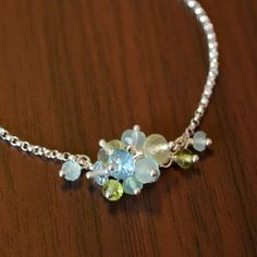NEW Gemstone Anklet Sterling Silver Aqua by livjewellery on Etsy