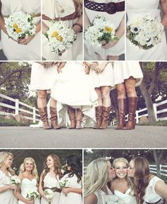 love everything about this.  love the dresses with different belts for bridesmaids, the boots, the flowers.