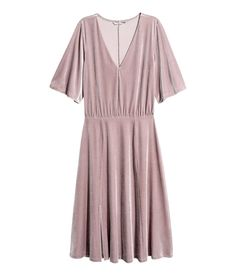 Check this out! Knee-length, V-neck dress in velour with short, slightly wider sleeves. Elasticized seam at waist with pleats and a flared skirt with a slit at front. Unlined. - Visit hm.com to see more.