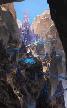 Hidden in the mountains #Art #Sci-fi #fantasy #FantasyLandscape