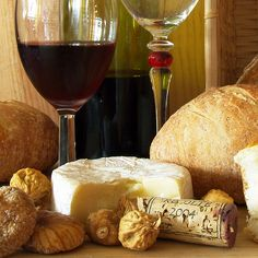 wine, bread and cheese